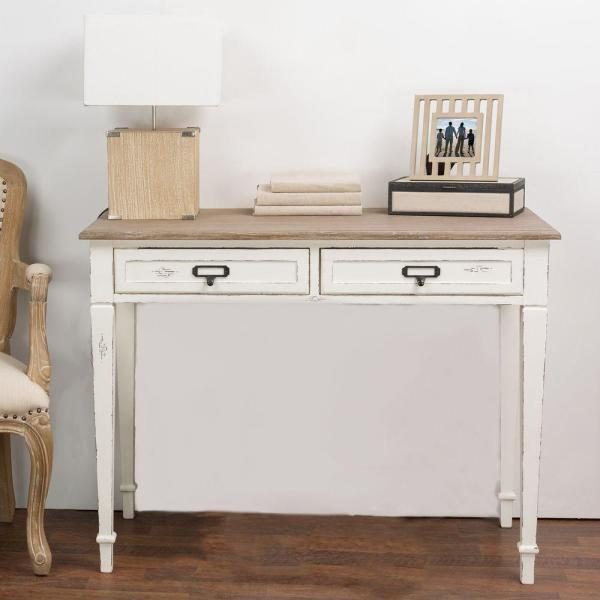 Baxton Studio Dauphine White and Light Brown Desk 28862-6026-HD