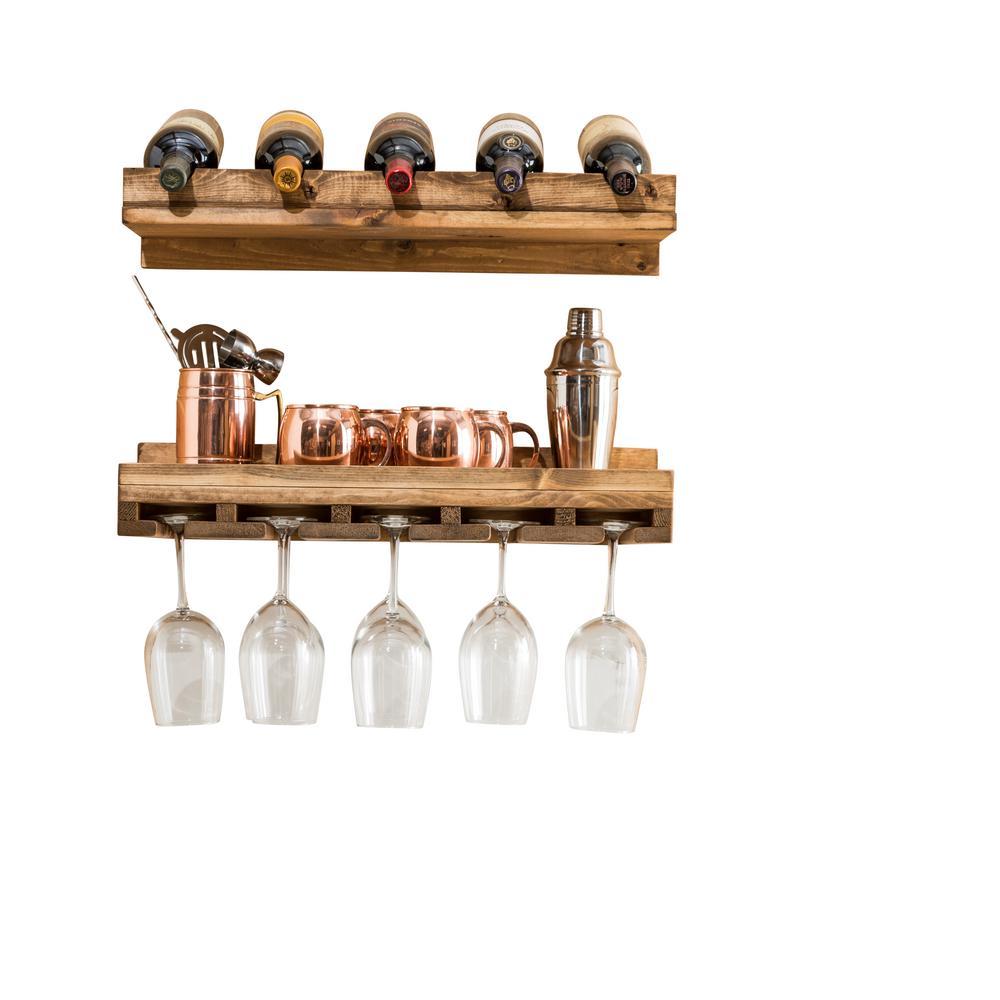 Rustic Luxe 5-Bottle Dark Walnut Wood Wall Mounted Wine Rack