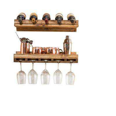 Rustic Luxe 5-Bottle Dark Walnut Wood Wall Mounted Wine Rack