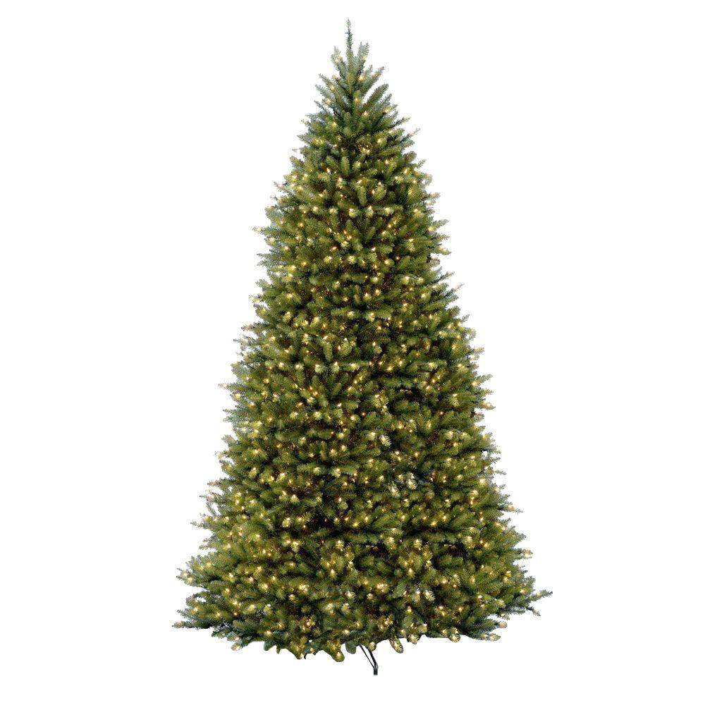 national tree company 10 ft pre lit dunhill fir hinged artificial christmas tree with clear lights