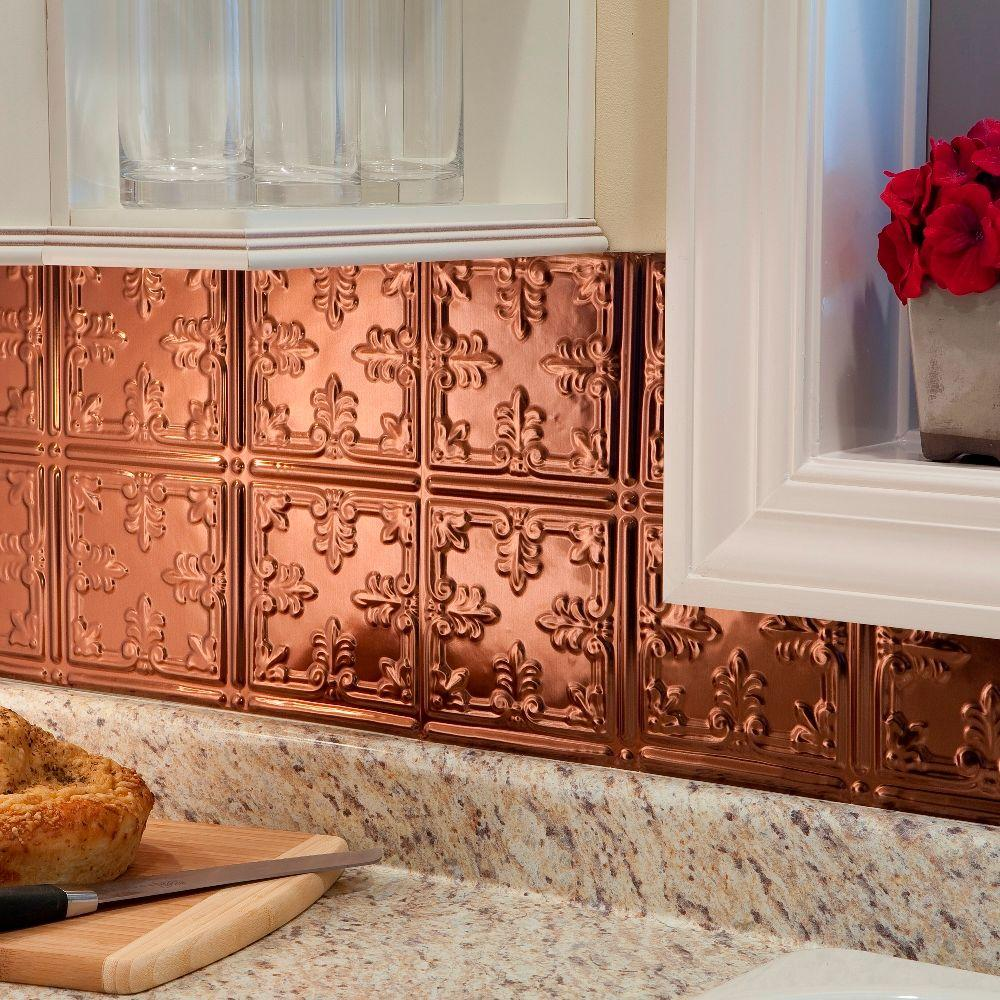 Fasade 24 in. x 18 in. Traditional 10 PVC Decorative Backsplash Panel in Polished Copper