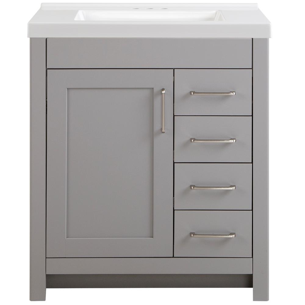Home Decorators Collection Westcourt 31 in. W x 22 in. D Vanity in Sterling Gray with Cultured Marble Vanity Top in White with White Basin