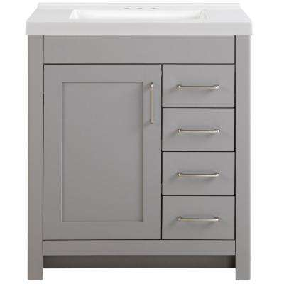 Westcourt 31 in. W x 22 in. D Vanity in Sterling Gray with Cultured Marble Vanity Top in White with White Basin
