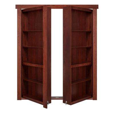 72 in. x 80 in. Flush Mount Assembled Hickory Cherry Stained Universal Solid Core Interior French Bookcase Door