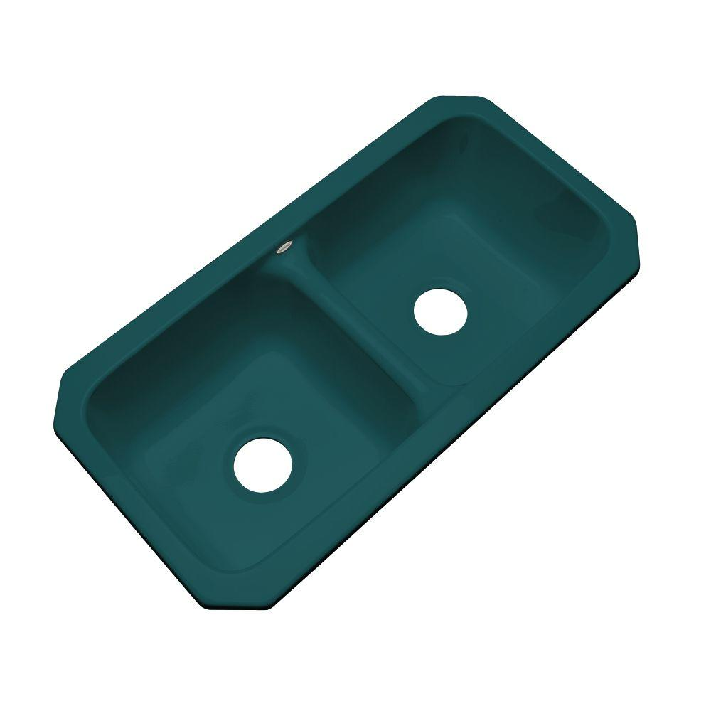 Thermocast Brighton Undermount Acrylic 33 in. Double Bowl Kitchen Sink in Teal