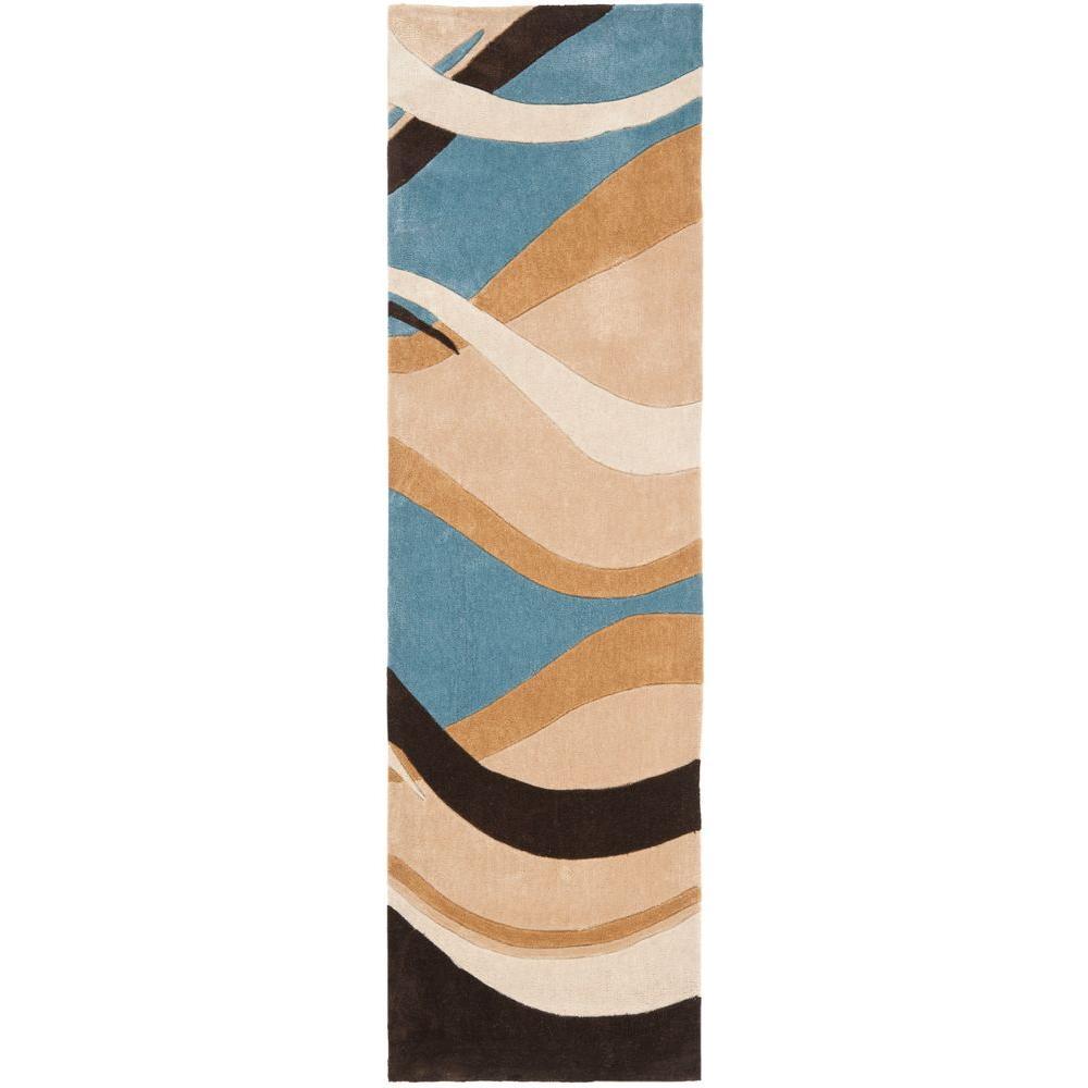 Modern Art Blue/Brown 2 ft. 6 in. x 12 ft. Runner