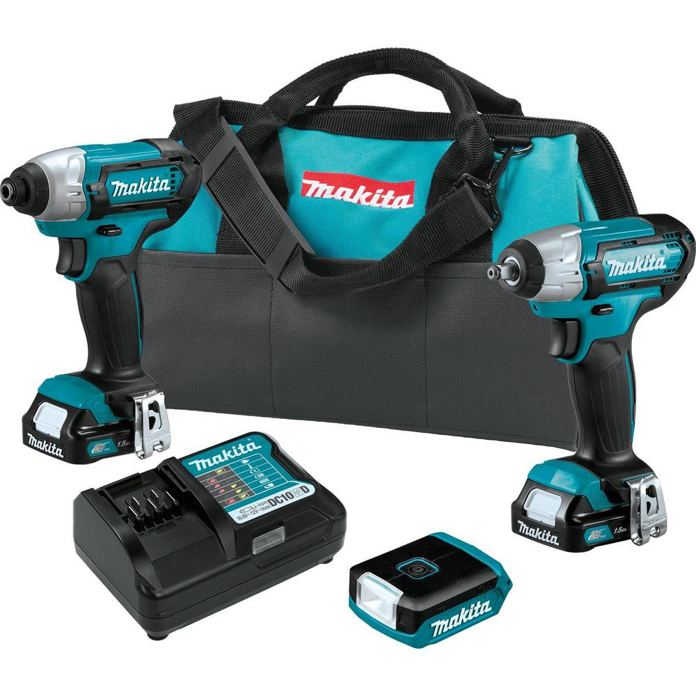 Makita 12-Volt MAX CXT Lithium-Ion Cordless 3-piece Combo Kit (Impact Driver/Impact Wrench/Flashlight) 1.5 Ah