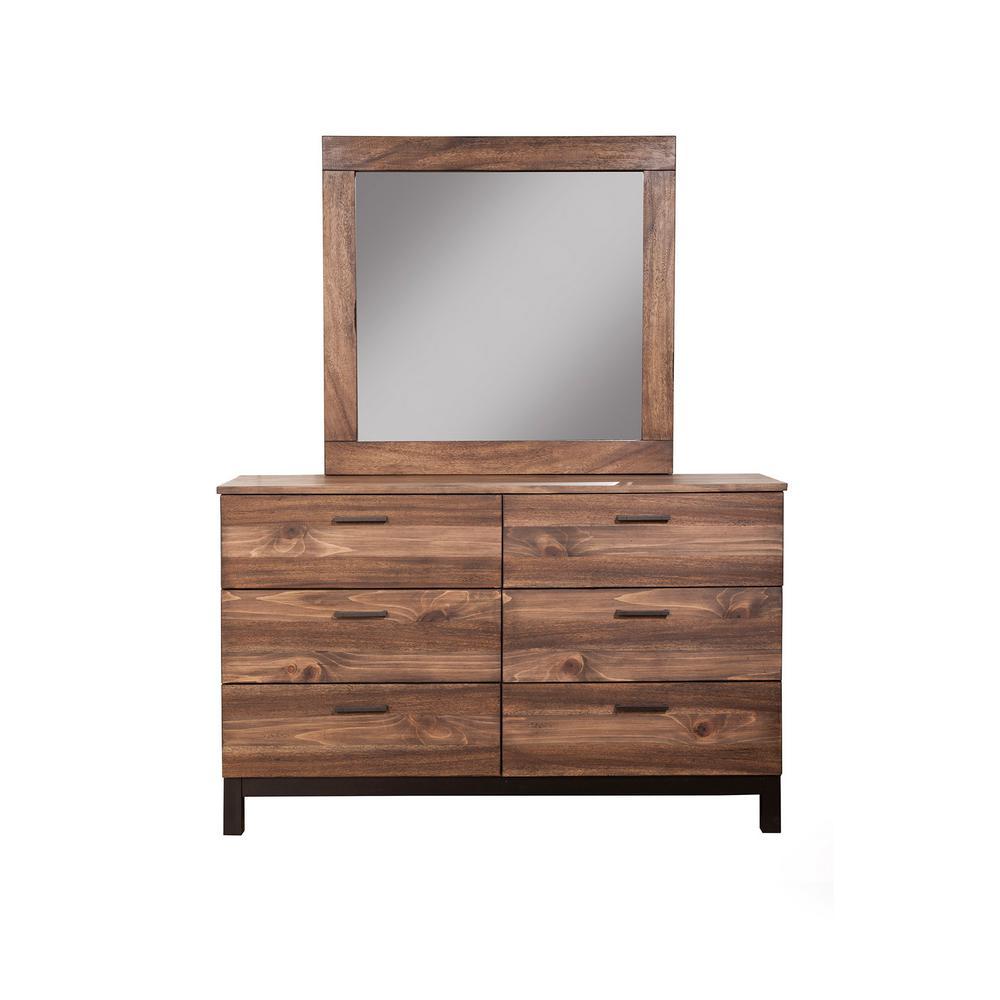 Weston 6-Drawer Rustic Pine Dresser and Mirror Set