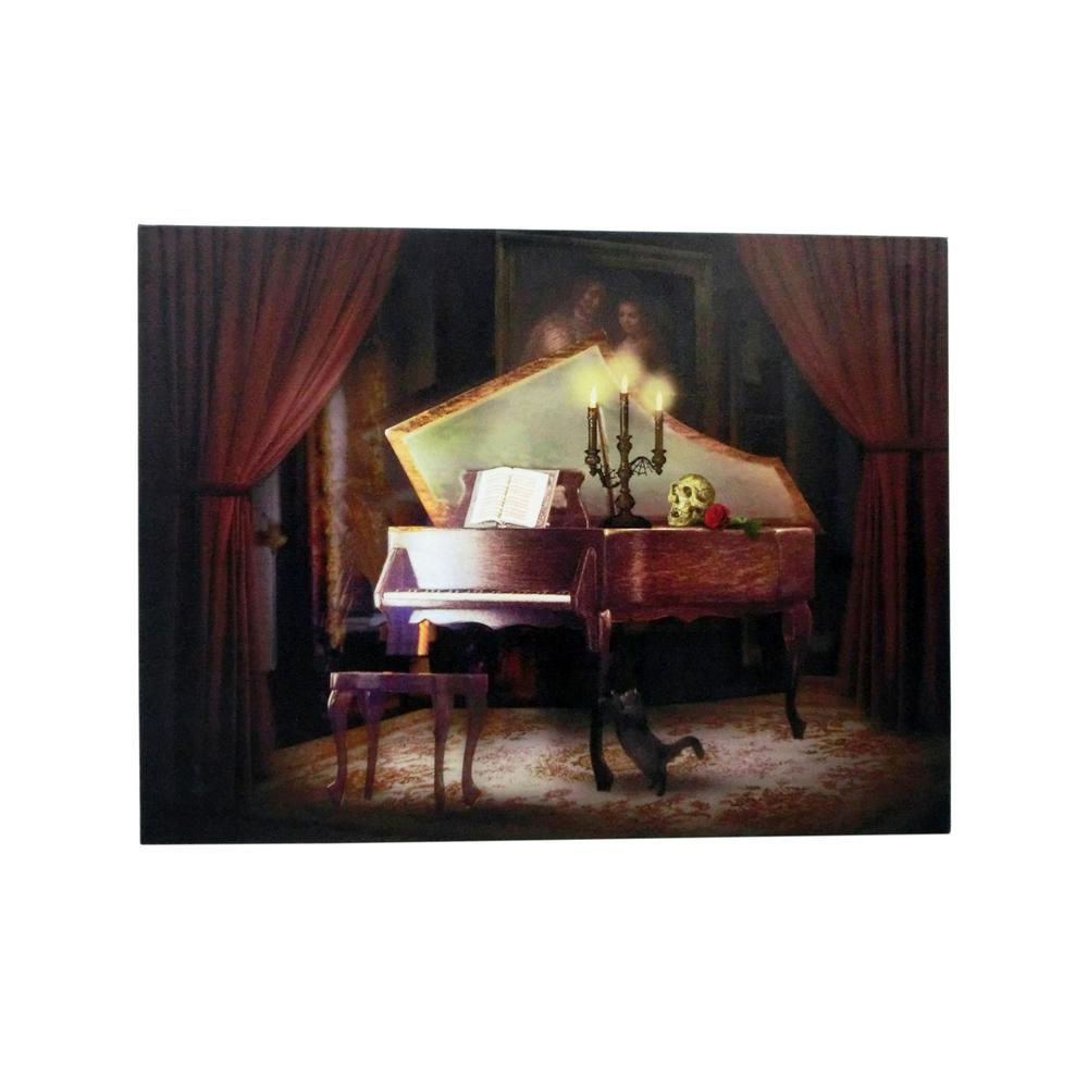 Home Accents Holiday 15 in. x 20 in. Halloween Haunted Piano LED Canvas with Sound
