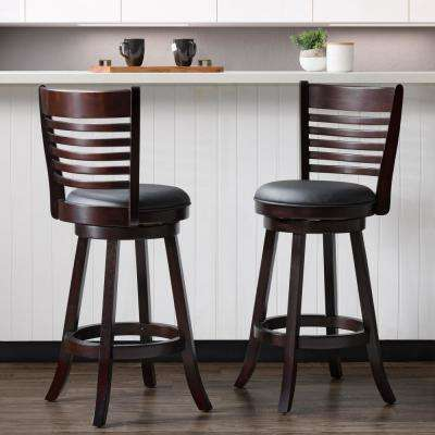 Woodgrove 29 in. Wood Swivel Barstools with Black Bonded Leather Seat and 6-Slat Backrest (Set of 2)
