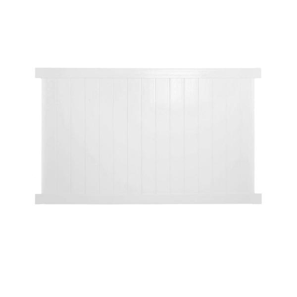 Savannah 4 ft. H x 8 ft. W White Vinyl Privacy Fence Panel Kit