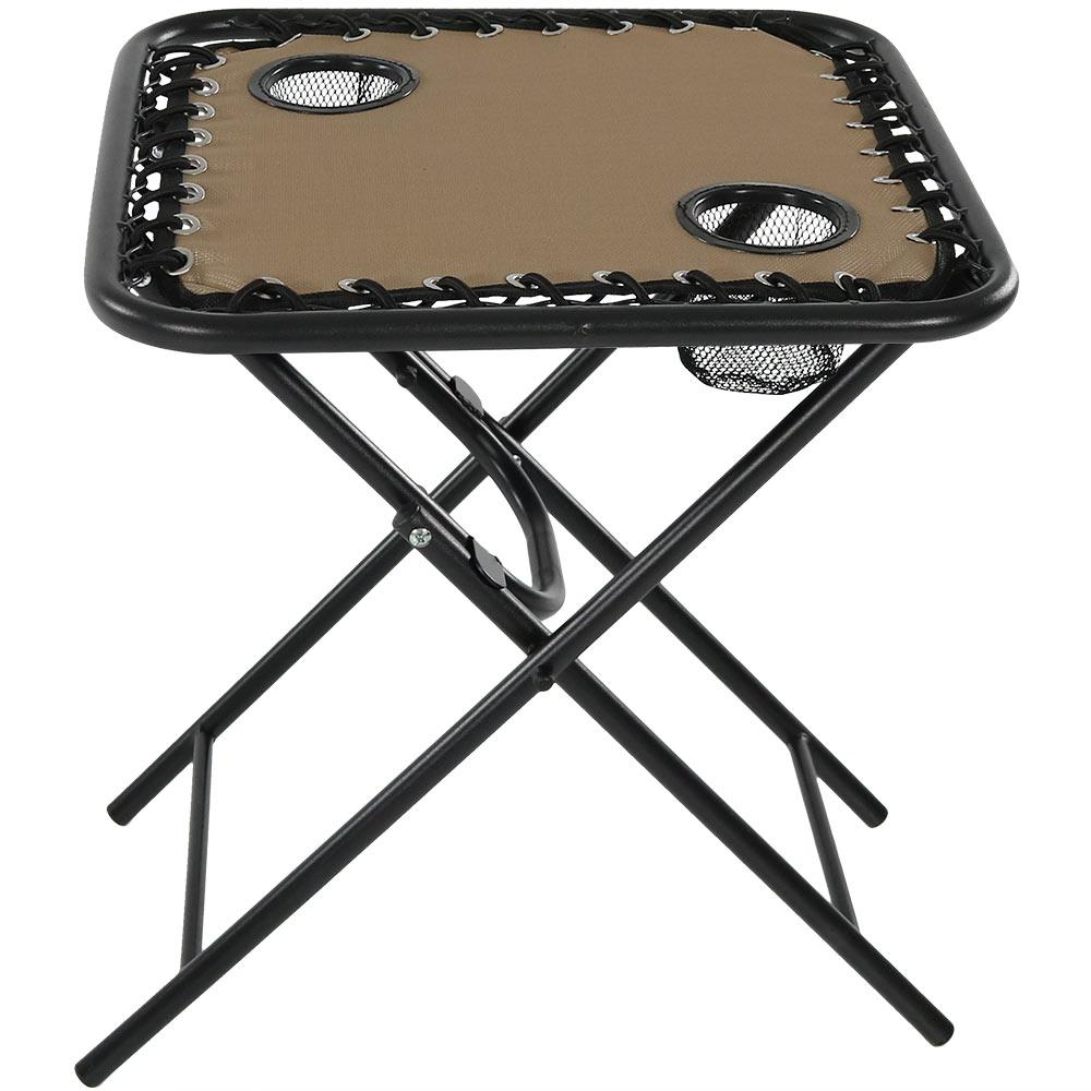 new products 814c3 a5ff5 Khaki Folding Outdoor Sling Side Table with Drink Holders