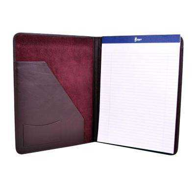 Genuine Leather Luxury Suede Lined Writing Portfolio, Burgundy