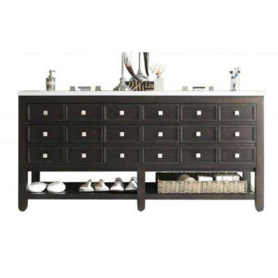Victoria 69 in. W Double Bath Vanity in Cerused Espresso Oak with Quartz Vanity Top in White with White Basin