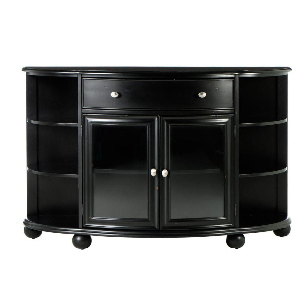 Home Decorators Collection Sheffield Demilune Buffet with Door in Antique Black