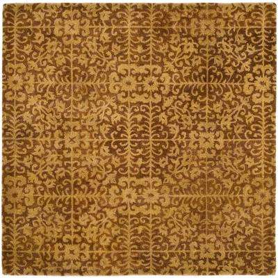 Antiquity Gold/Beige 6 ft. x 6 ft. Square Area Rug