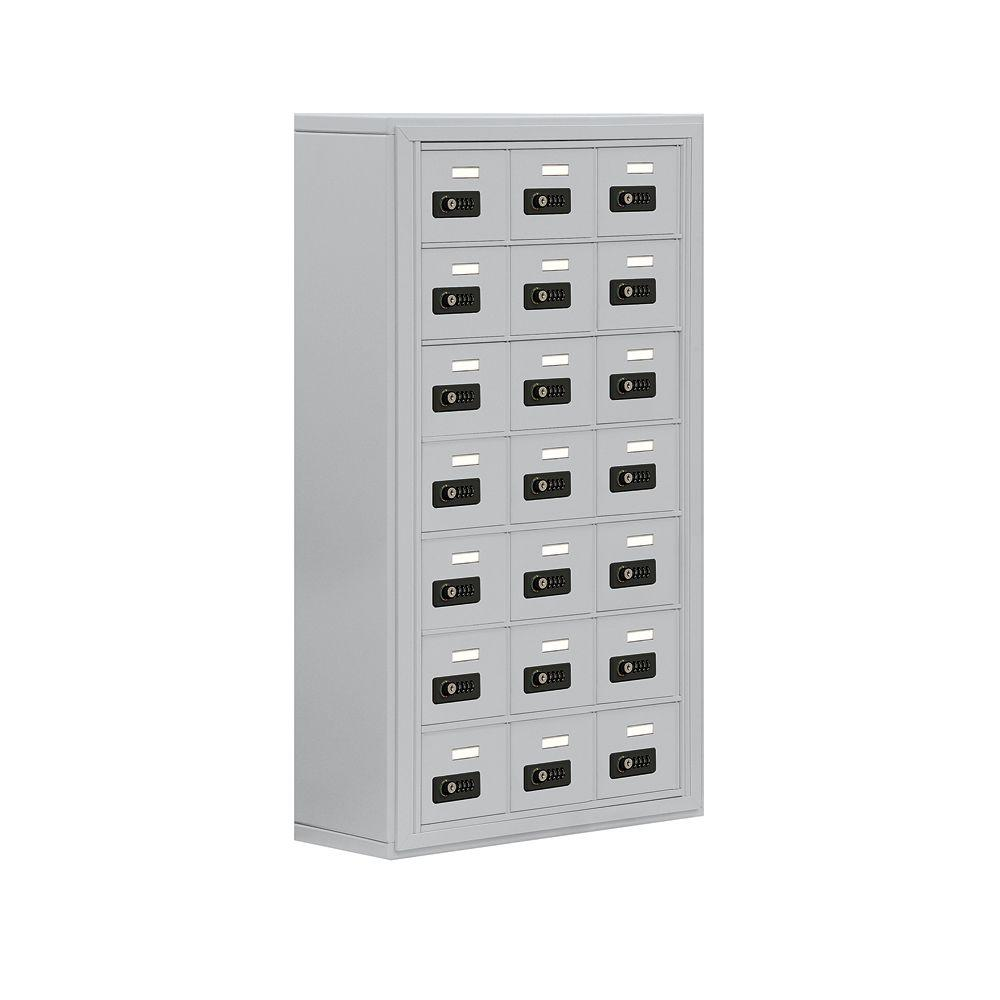 Salsbury Industries 19000 Series 24 in. W x 42 in. H x 9.25 in. D 21 A Doors S-Mounted Resettable Locks Cell Phone Locker in Aluminum