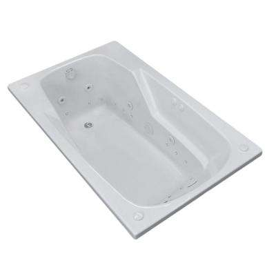 Coral Diamond Series 5 ft. Left Drain Rectangular Drop-in Whirlpool and Air Bath Tub in White
