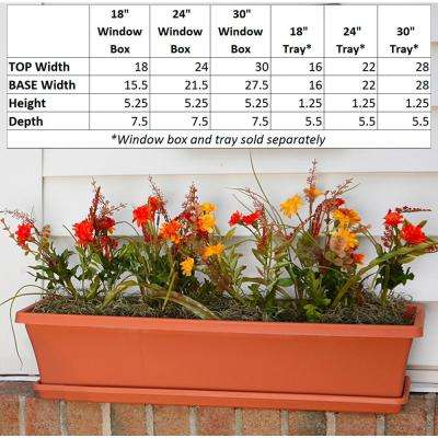 Terra 30 in. Terra Cotta Plastic Window Box Planter