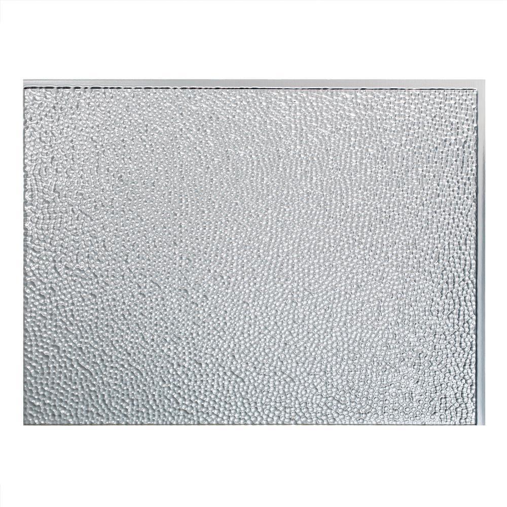 24 in. x 18 in. Hammered PVC Decorative Backsplash Panel in Brushed Aluminum