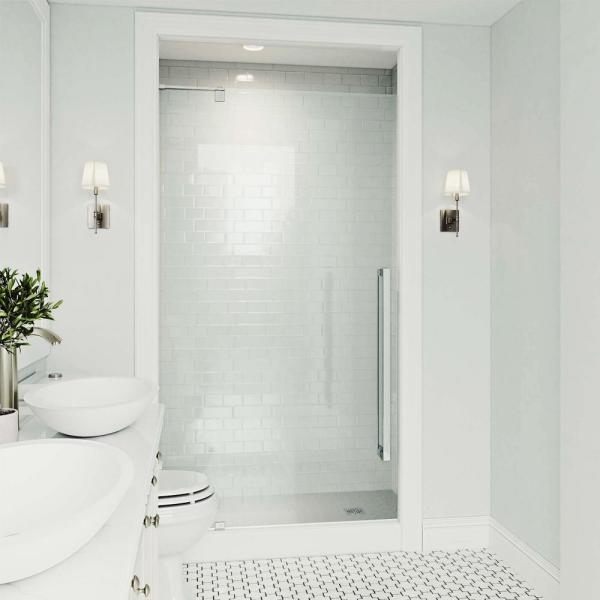 VIGO Cameo 36 in. x 74.375 in. Frameless Pivot Shower Door in Chrome with Clear Glass and Handle