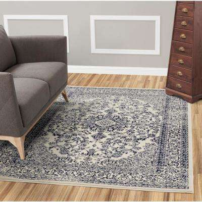 Jasmin Collection Oriental Medallion Design Ivory and Navy 8 ft. x 8 ft. Area Rug
