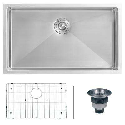Undermount Stainless Steel 32 in. Single Bowl Kitchen Sink 16-Gauge