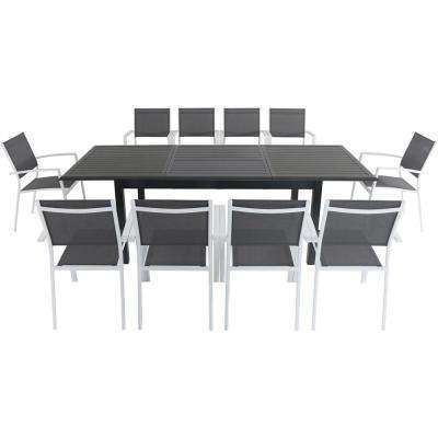 Cameron 11-Piece Aluminum Outdoor Dining Set with 10 Sling Dining Chairs and an Expandable Table