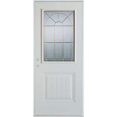 33.375 in. x 82.375 in. Geometric Brass 1/2 Lite 1-Panel Painted White Right-Hand Inswing Steel Prehung Front Door