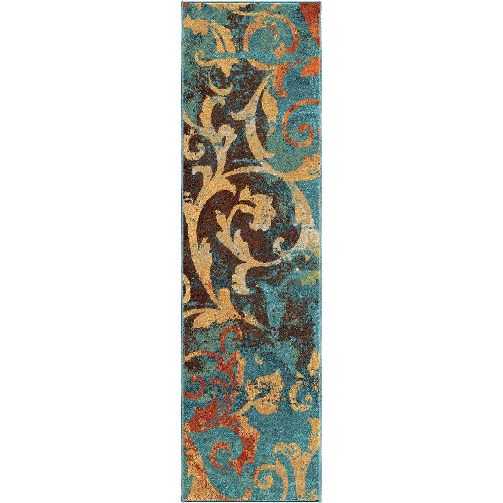 Orian Rugs Watercolor Scroll Multi Bright Colors 2 Ft X 8