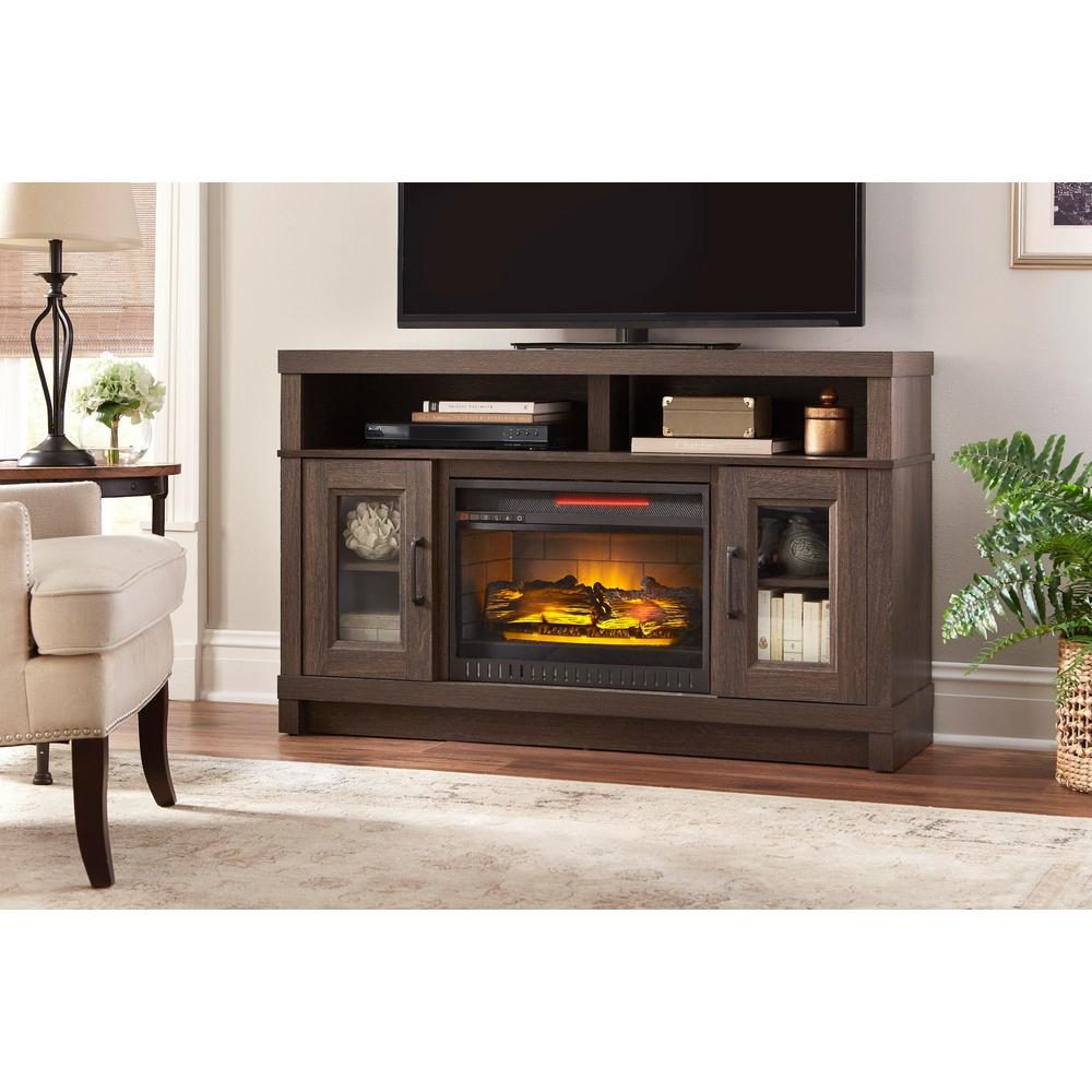 home decorators collection ashmont 54 in freestanding electric fireplace tv stand in gray oak. Black Bedroom Furniture Sets. Home Design Ideas