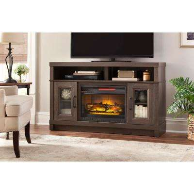 Ashmont 54in Media Console Infrared Electric Fireplace in Gray Oak Finish
