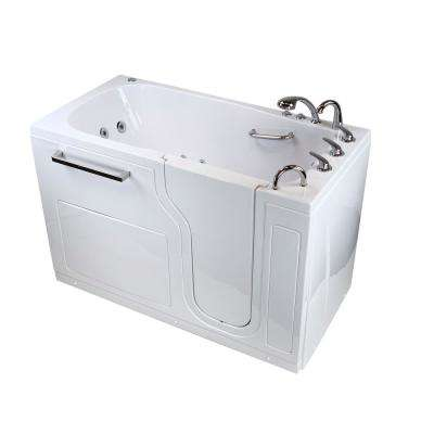 "Aqua 60 in. Acrylic Walk-In Whirlpool and Air Bath Bathtub in White with RHS Door, Fast Fill 3/4"" Faucet, 2 in.RHS Drain"