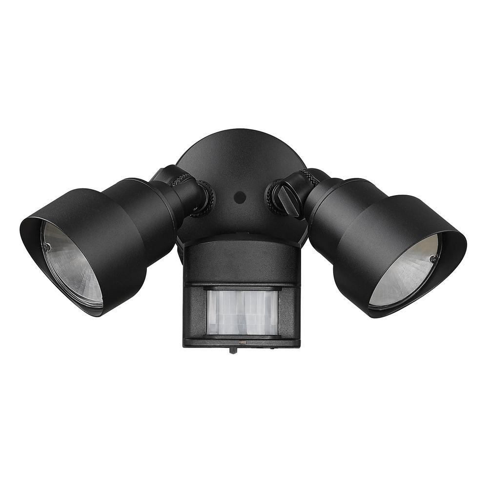 Flood Lights 2-Light Matte Black Motion Activated Outdoor LED Light Fixture