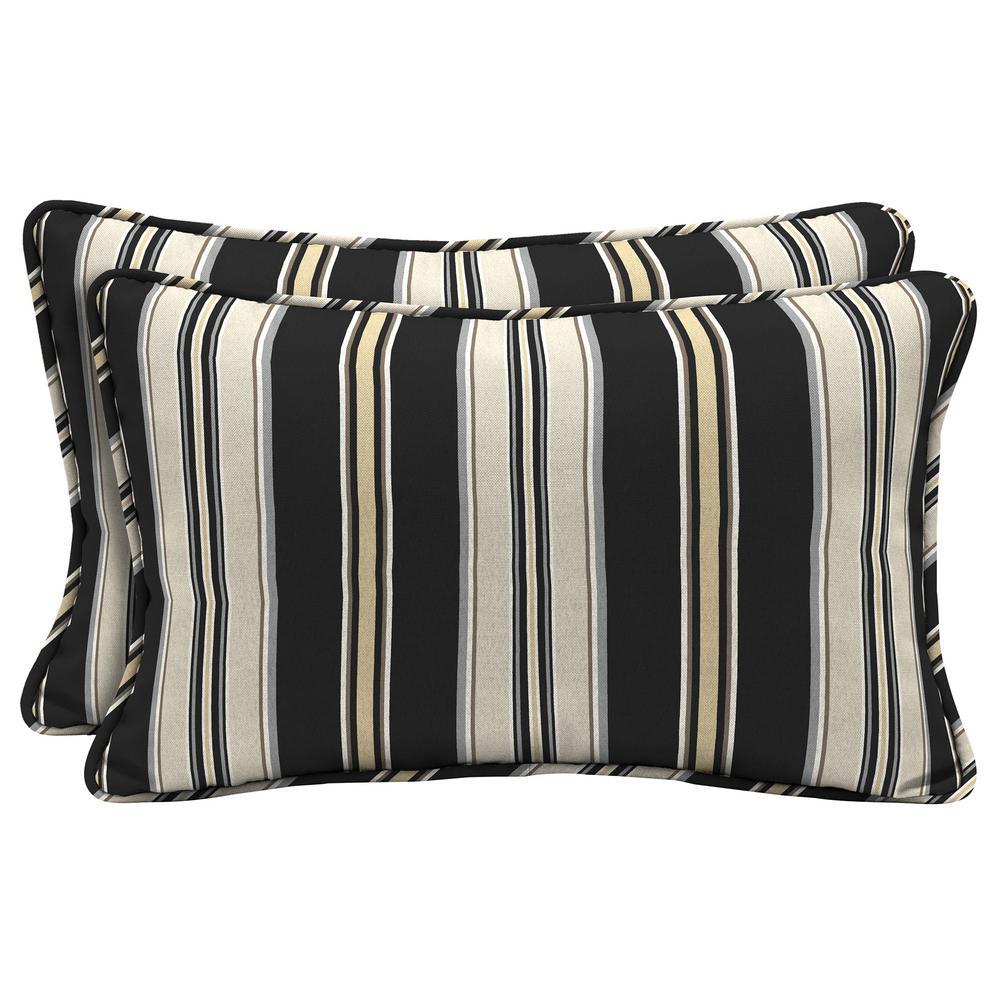Attractive Black Stripe Lumbar Outdoor Throw Pillow (2 Pack)