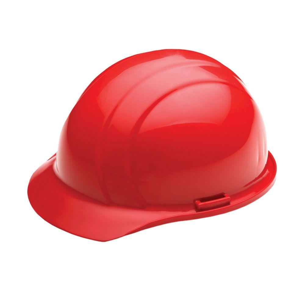 4 Point Nylon Suspension Mega Ratchet Cap Hard Hat in Red
