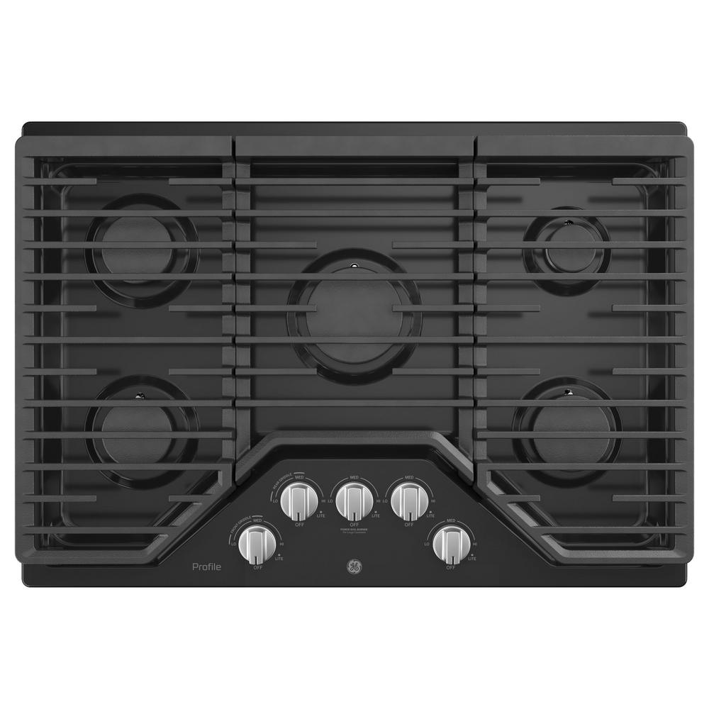 Ge Profile 30 In Gas Cooktop Black With 5 Burners Rapid Boil