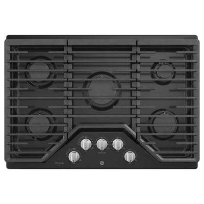 Profile 30 in. Gas Cooktop in Black with 5-Burners with Rapid Boil Burner Technology