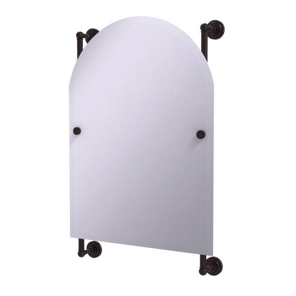 Dottingham Collection Arched Top Frameless Rail Mounted Mirror in Antique Bronze