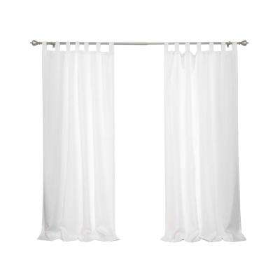 Oxford Outdoor 52 in. W x 96 in. L Tab Top Curtains in White (2-Pack)