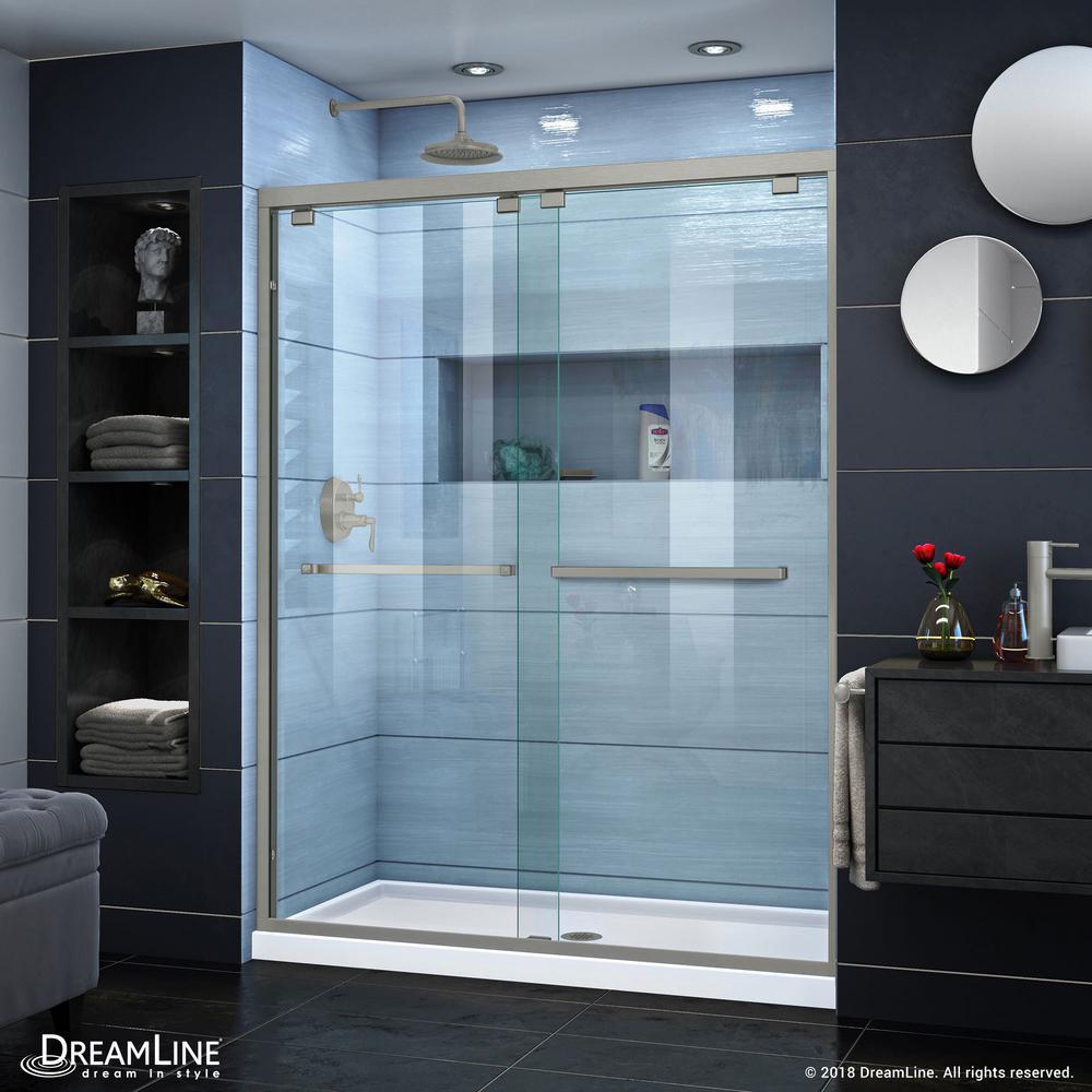 Encore 56 to 60 in. x 76 in. Semi-Frameless Sliding Shower Door in Brushed Nickel