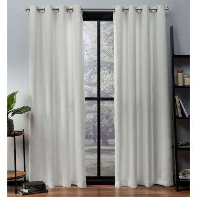 Oxford 52 in. W x 63 in. L Woven Blackout Grommet Top Curtain Panel in Vanilla (2 Panels)
