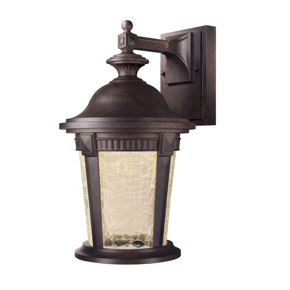 Hampton Bay Basilica Collection Mystic Bronze Outdoor LED Wall Lantern