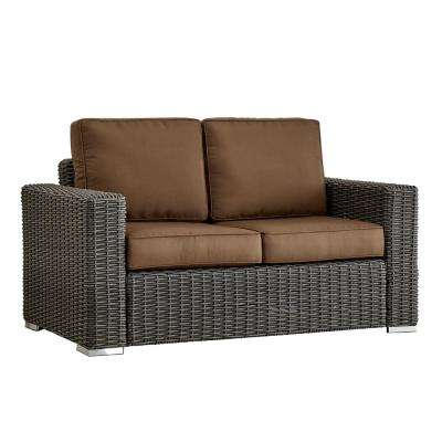 Camari Charcoal Square Arm Wicker Outdoor Loveseat with Brown Cushion