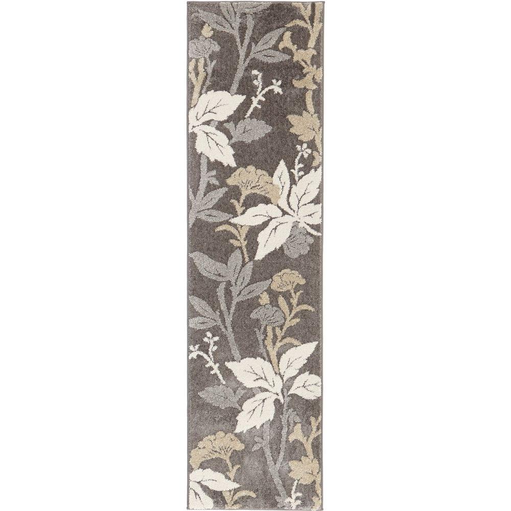 Home Decorators Collection Blooming Flowers Gray 2 ft. x 7 ft. Runner Rug