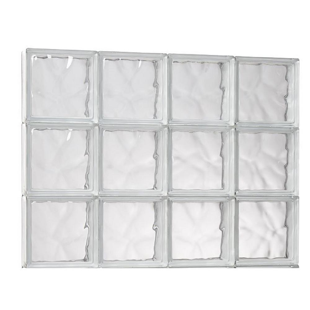 TAFCO WINDOWS 31 in. x 21.25 in. x 3.125 in. Wave Pattern Solid Glass Block Masonry Window