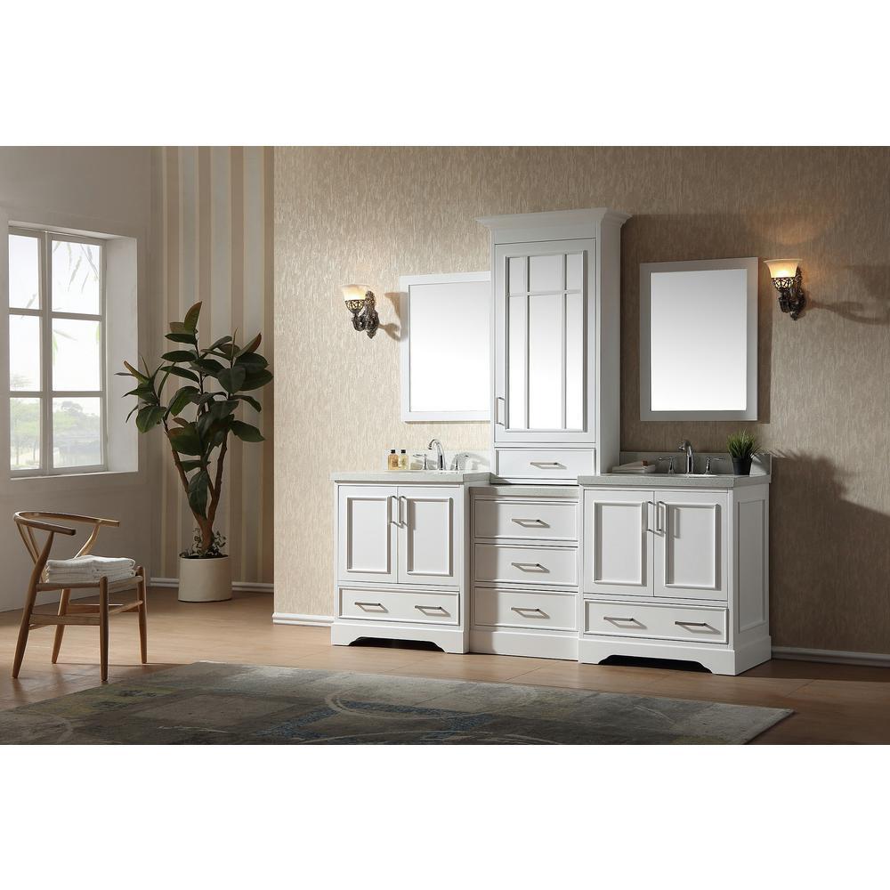 Stafford 85 in. Bath Vanity in White with Quartz Vanity Top in White with White Basins and Mirror