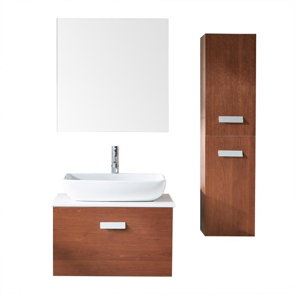 Versalles 27 in. W x 19 in. D x 16 in. H Bath Vanity in PVC with Vitreous China Vanity Top Basin Mirror in White