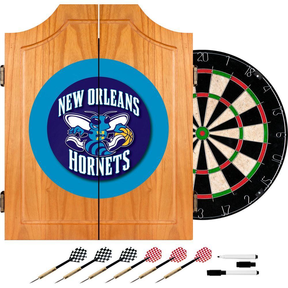 Trademark Wood Finish Dart Cabinet Set - NBA New Orleans Hornets