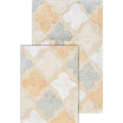 Alloy Moroccan Tiles Spa 21 in. x 34 in. and 17 in. x 24 in. 2-Piece Bath Rug Set